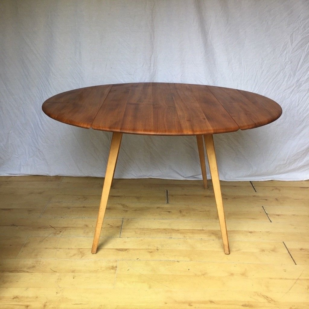 Most Up To Date Vintage Ercol Drop Leaf Folding Extending Round Oval Dining Table Pertaining To Extending Round Dining Tables (View 10 of 25)