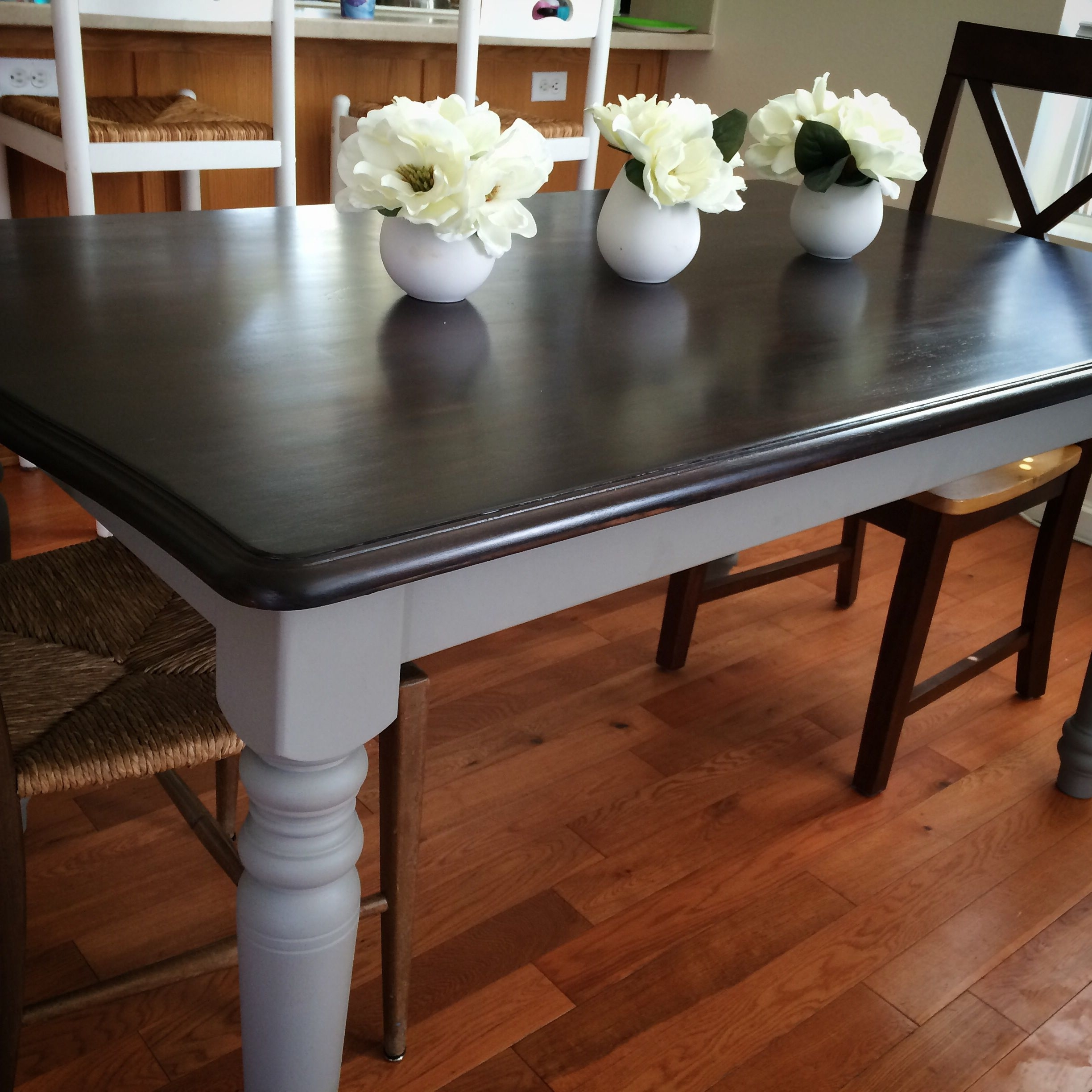 Most Up To Date Washed Old Oak & Waxed Black Legs Bar Tables Pertaining To Annie Sloan Chalk Paint French Linen And Java Stain Over An Old (View 2 of 25)
