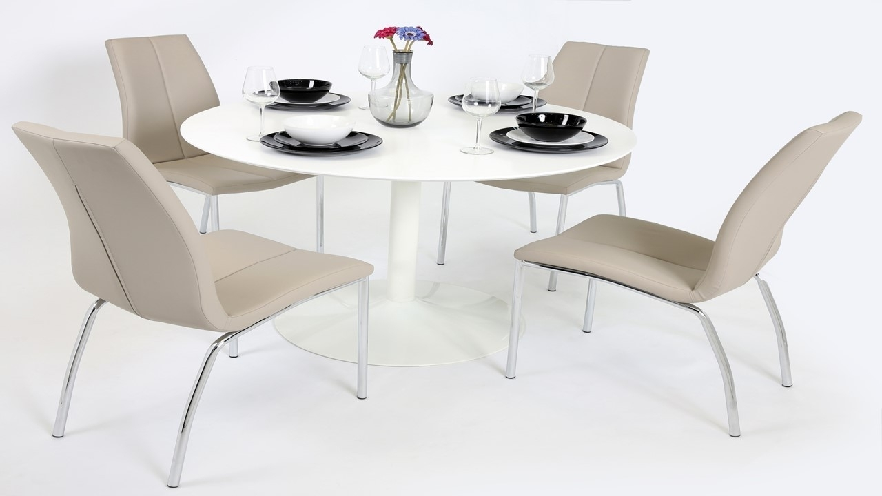 Most Up To Date White Gloss Dining Furniture Inside White Gloss Dining Table And 4 Mink Grey Chairs – Homegenies (View 14 of 25)
