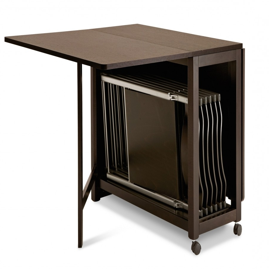 Most Up To Date Wood Folding Dining Tables Within Witching Folding Dining Table Feature Dark Brown Color Wooden (View 12 of 25)