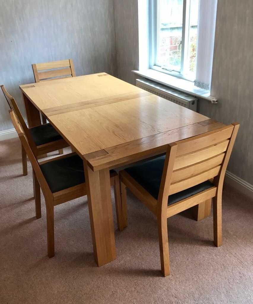 M&s Sonoma Oak Extending Dining Table – 4 Chairs – Bench (View 8 of 25)