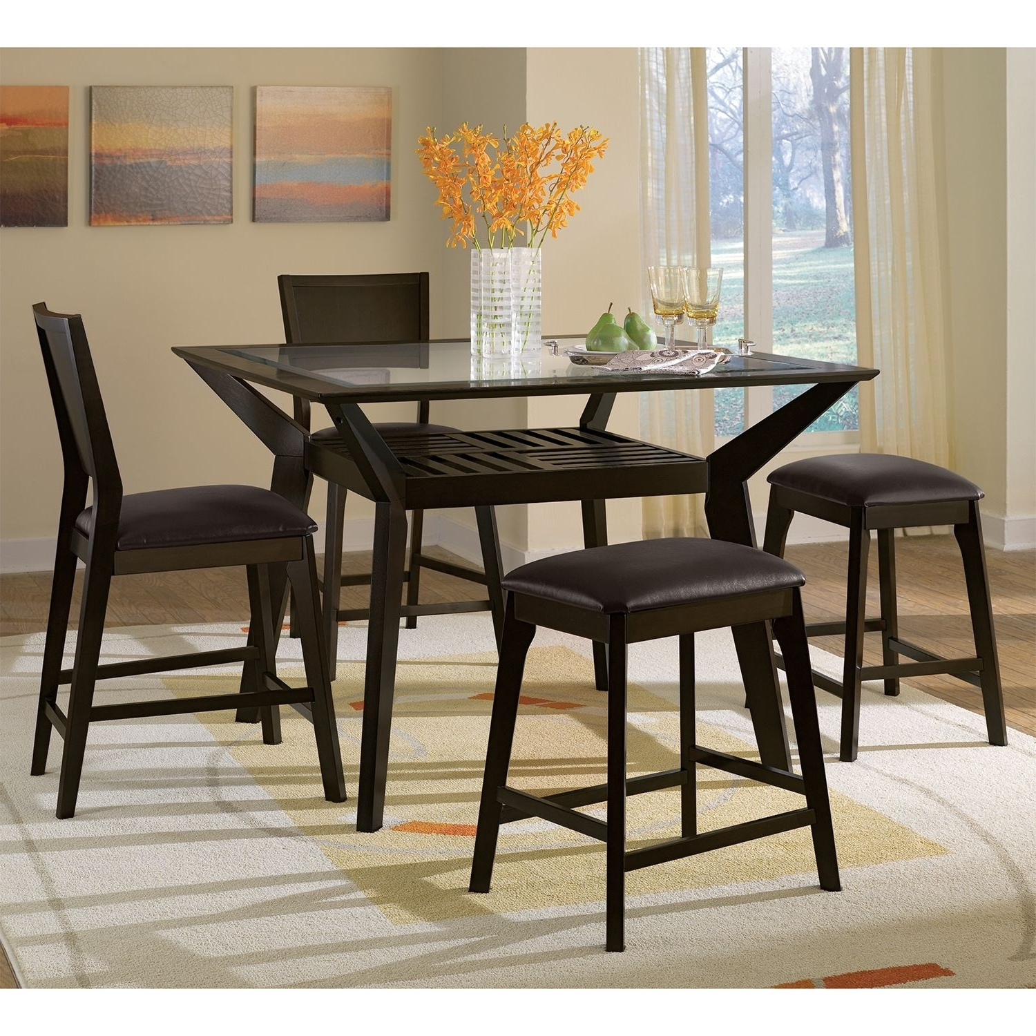 Mystic 5 Pc. Counter Height Dinette W/ 2 Backless Stools (Gallery 23 of 25)