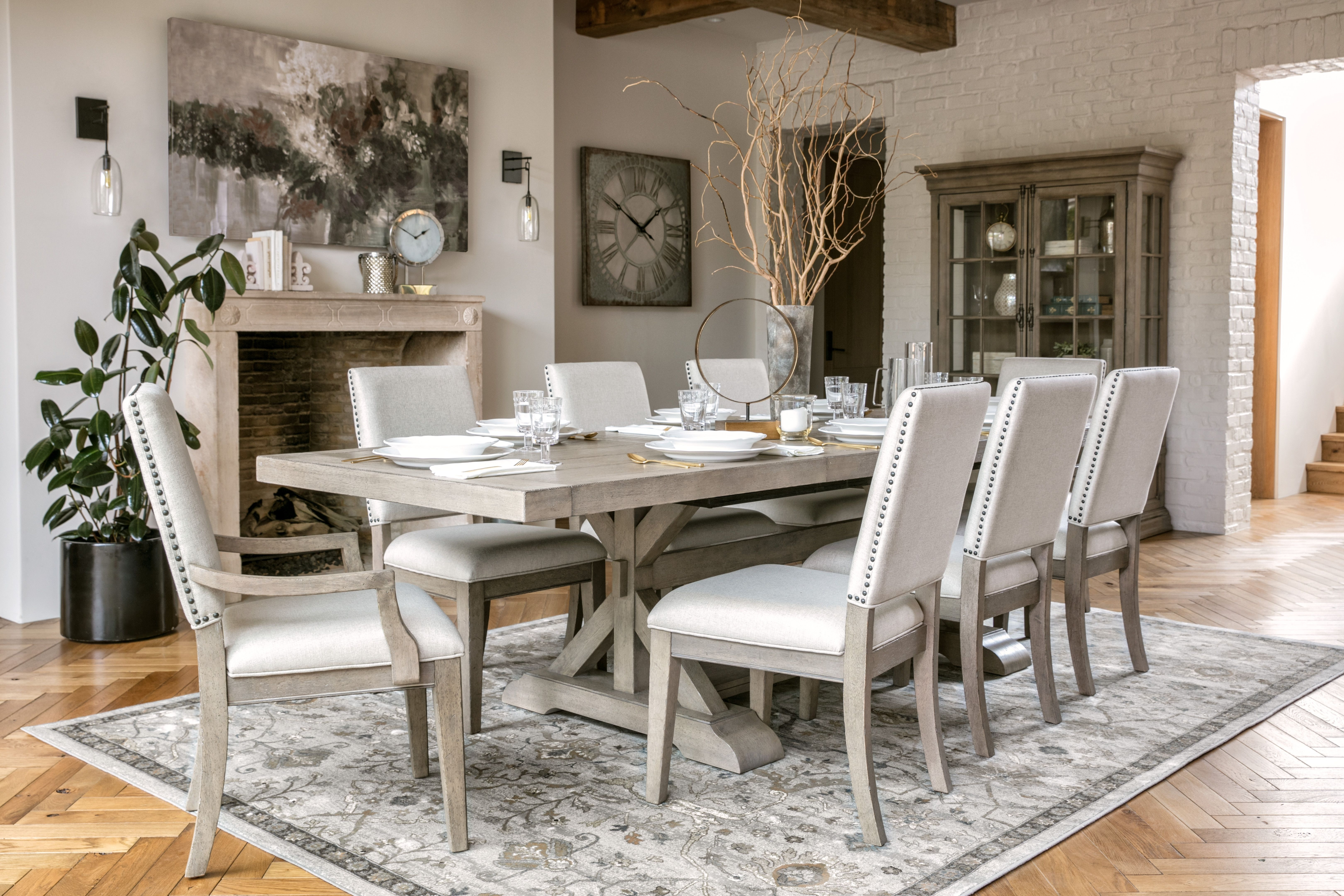 Nailhead Trim, Side Chair And Within Caden 7 Piece Dining Sets With Upholstered Side Chair (View 18 of 25)