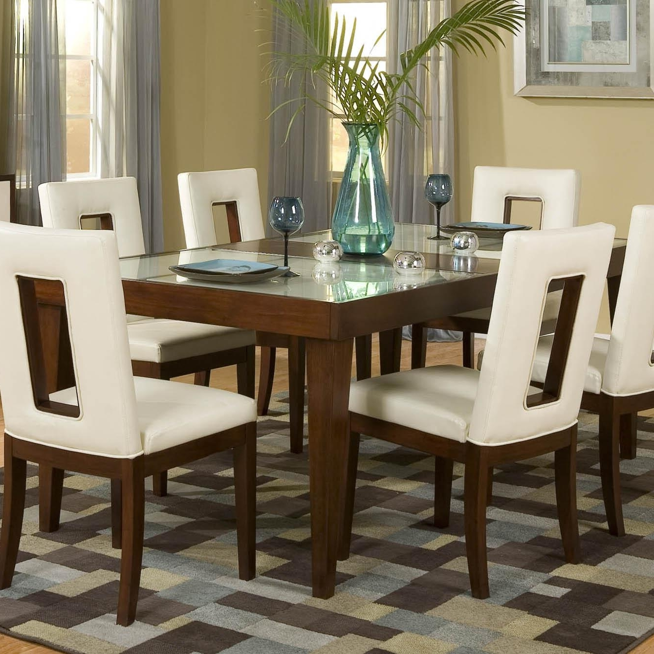 Najarian Enzo Dining Dtenzftcw Rectangular Leg Dining Table With 12 with regard to Best and Newest Chandler 7 Piece Extension Dining Sets With Fabric Side Chairs