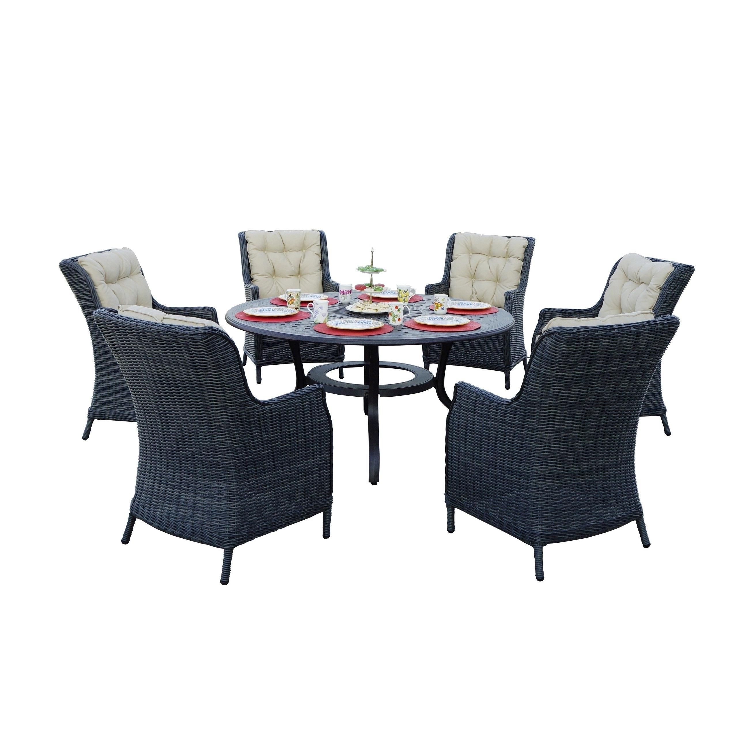 Napa 7 Piece Dining Set, 60'' Round – Free Shipping Today Within Well Known Valencia 72 Inch 7 Piece Dining Sets (View 11 of 25)