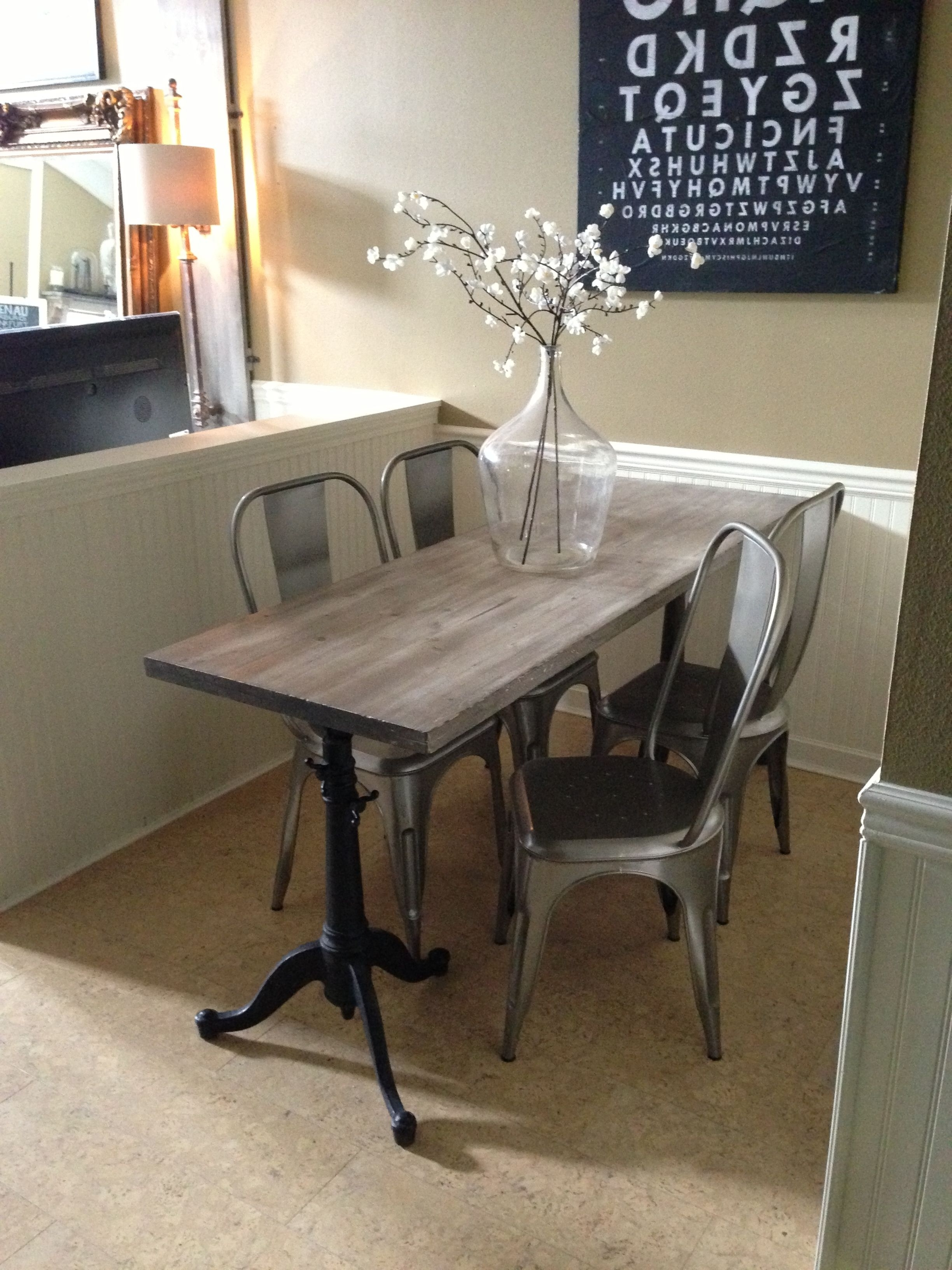 Narrow Dining Table For Narrow Space. Industrial Chic, Drafting Pertaining To Latest Small Dining Tables (Gallery 23 of 25)