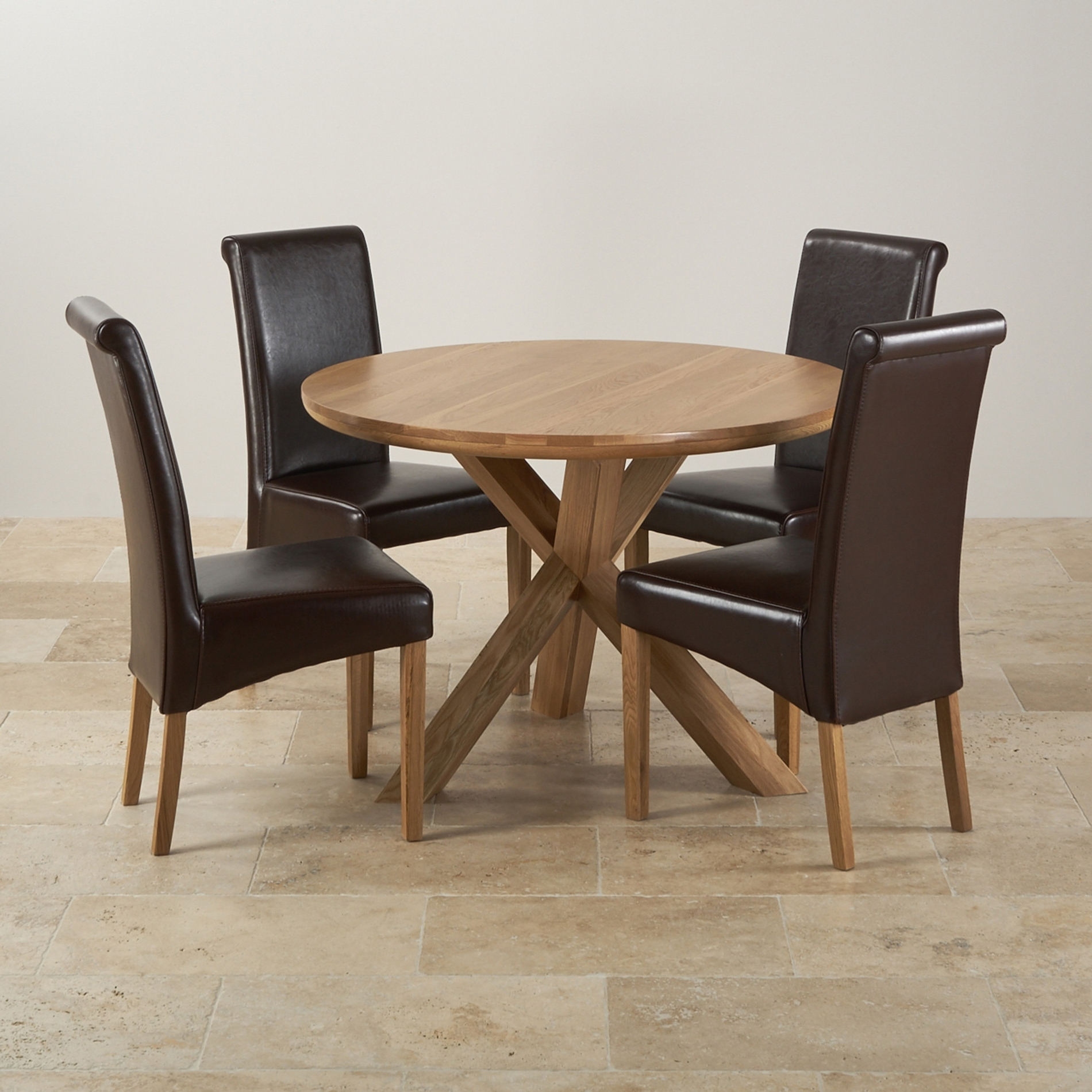 Natural Real Oak Dining Set Round Table 4 Brown Leather Fabric In Most Recently Released Round Oak Dining Tables And Chairs (View 19 of 25)