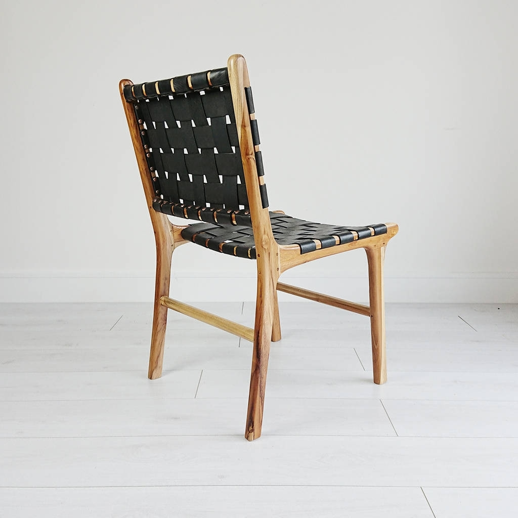 Natural Teak And Leather Dining Chairsouk Collective Regarding 2018 Real Leather Dining Chairs (View 13 of 25)