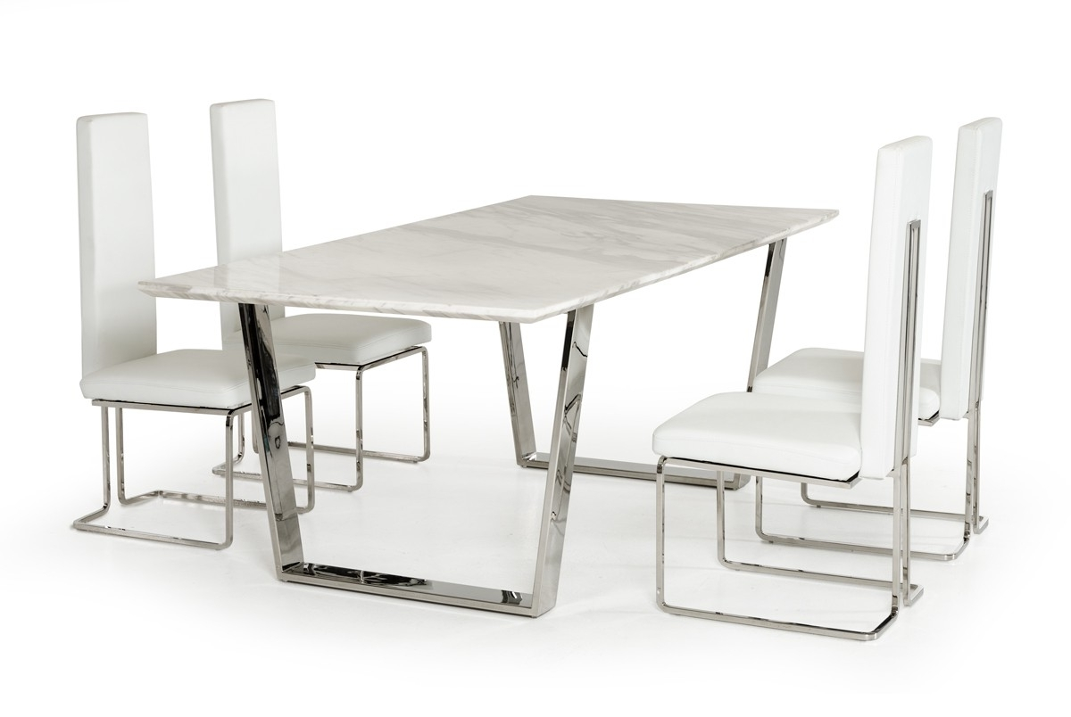 Natural White Marble Top And Chrome Legs Dining Table Detroit Intended For Recent Chrome Dining Room Sets (View 21 of 25)