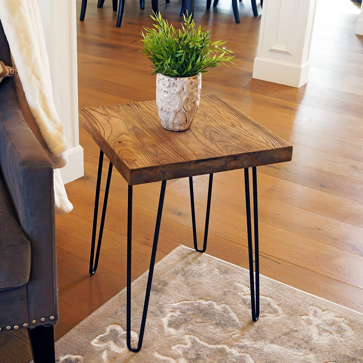 Natural Wood & Recycled Elm 87 Inch Dining Tables Pertaining To Well Known Amazon: Welland Square Old Elm Wood End Table Rustic Surface (Gallery 1 of 25)