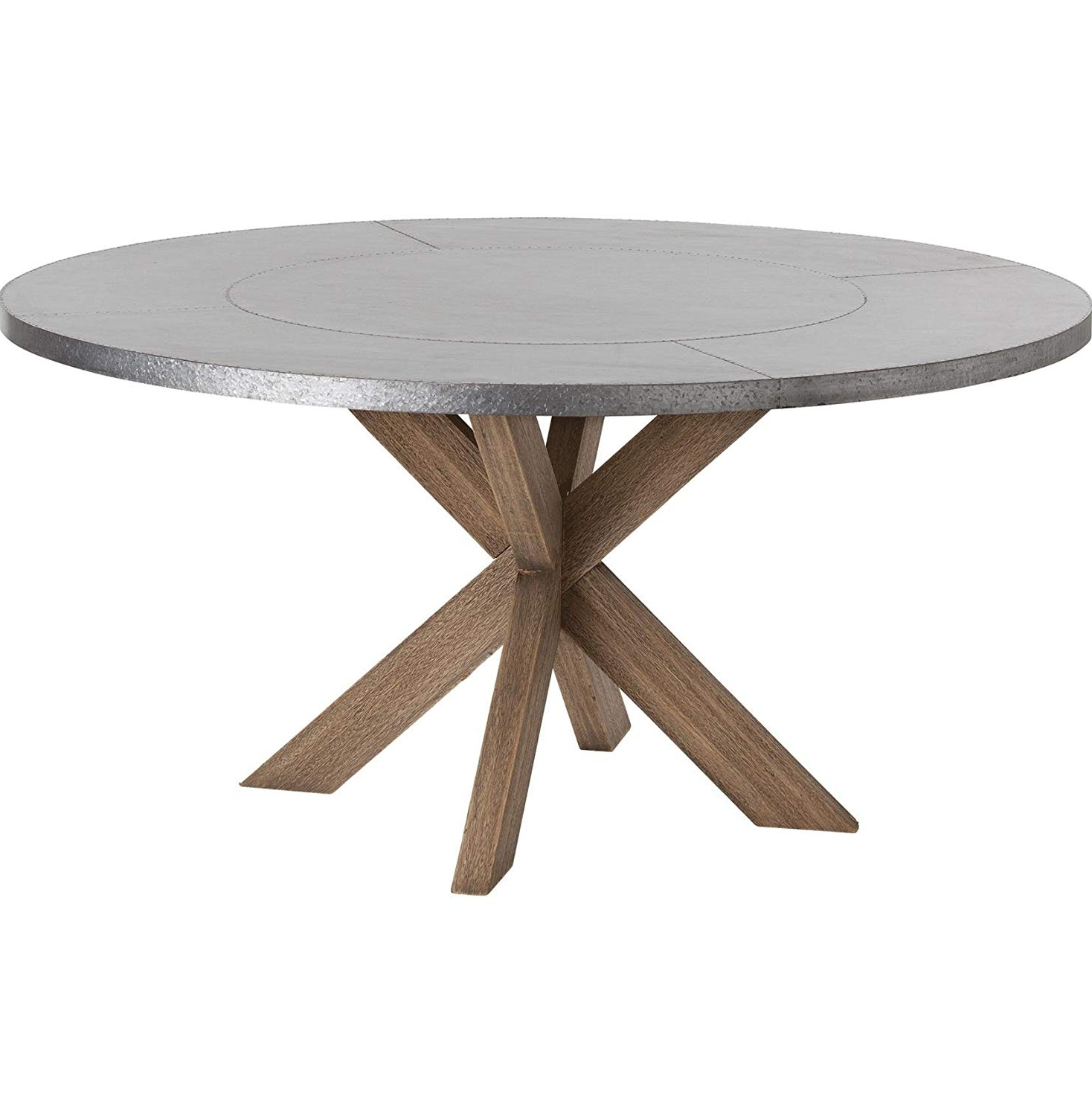 Natural Wood & Recycled Elm 87 Inch Dining Tables Regarding Most Popular Amazon – Kathy Kuo Home Halton Industrial Loft Galvanized Iron (Gallery 25 of 25)