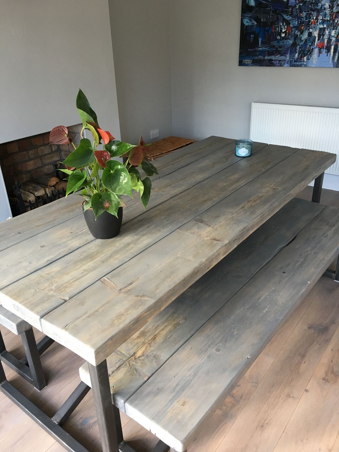 Natural Wood & Recycled Elm 87 Inch Dining Tables With Fashionable Industrial Style Reclaimed Wood Grey Washed Dining Table And Benches (View 15 of 25)