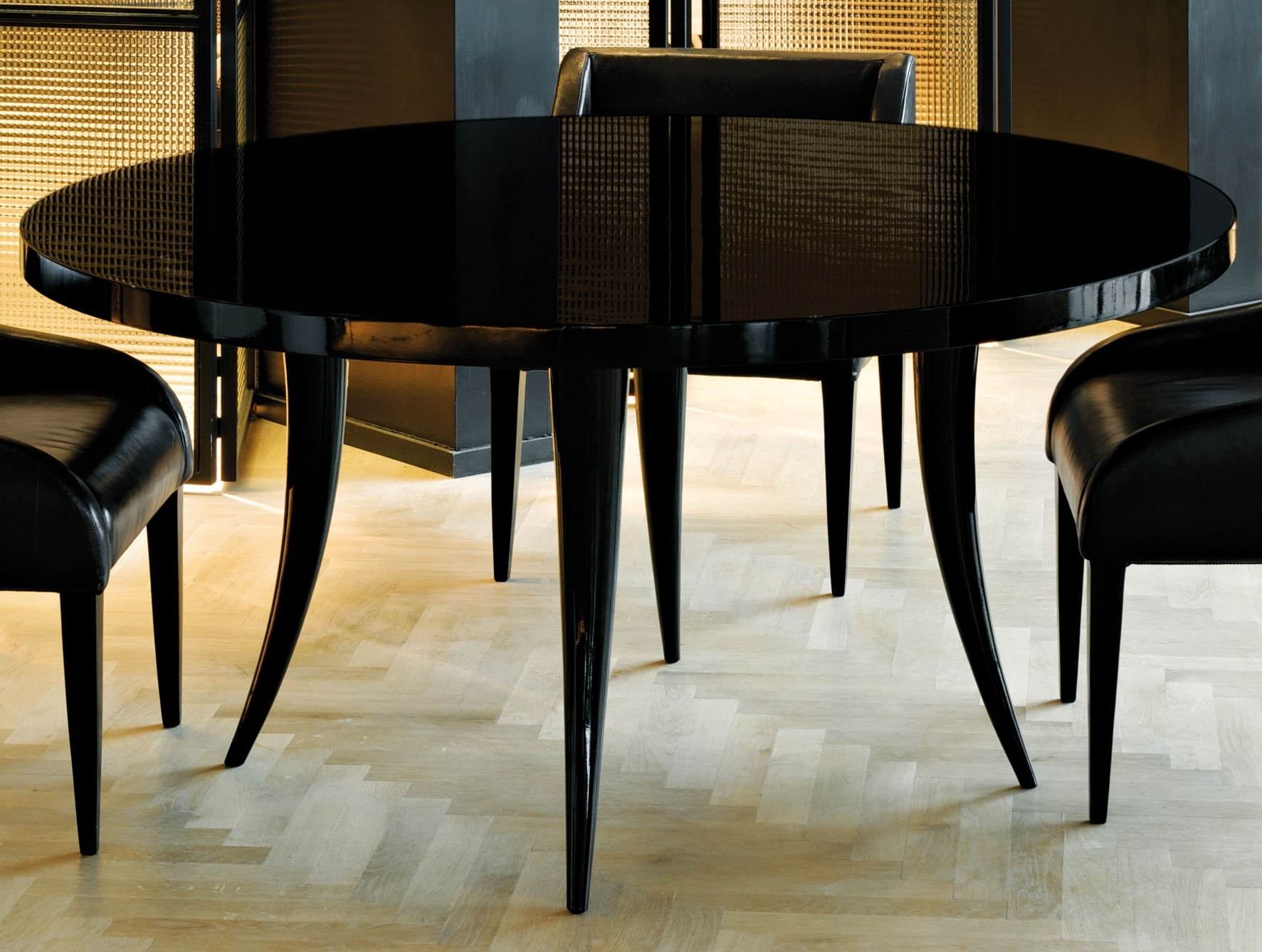 Nella Vetrina Sabre Modern Italian Round Black Wood Dining Table intended for Most Current Dining Tables Dark Wood