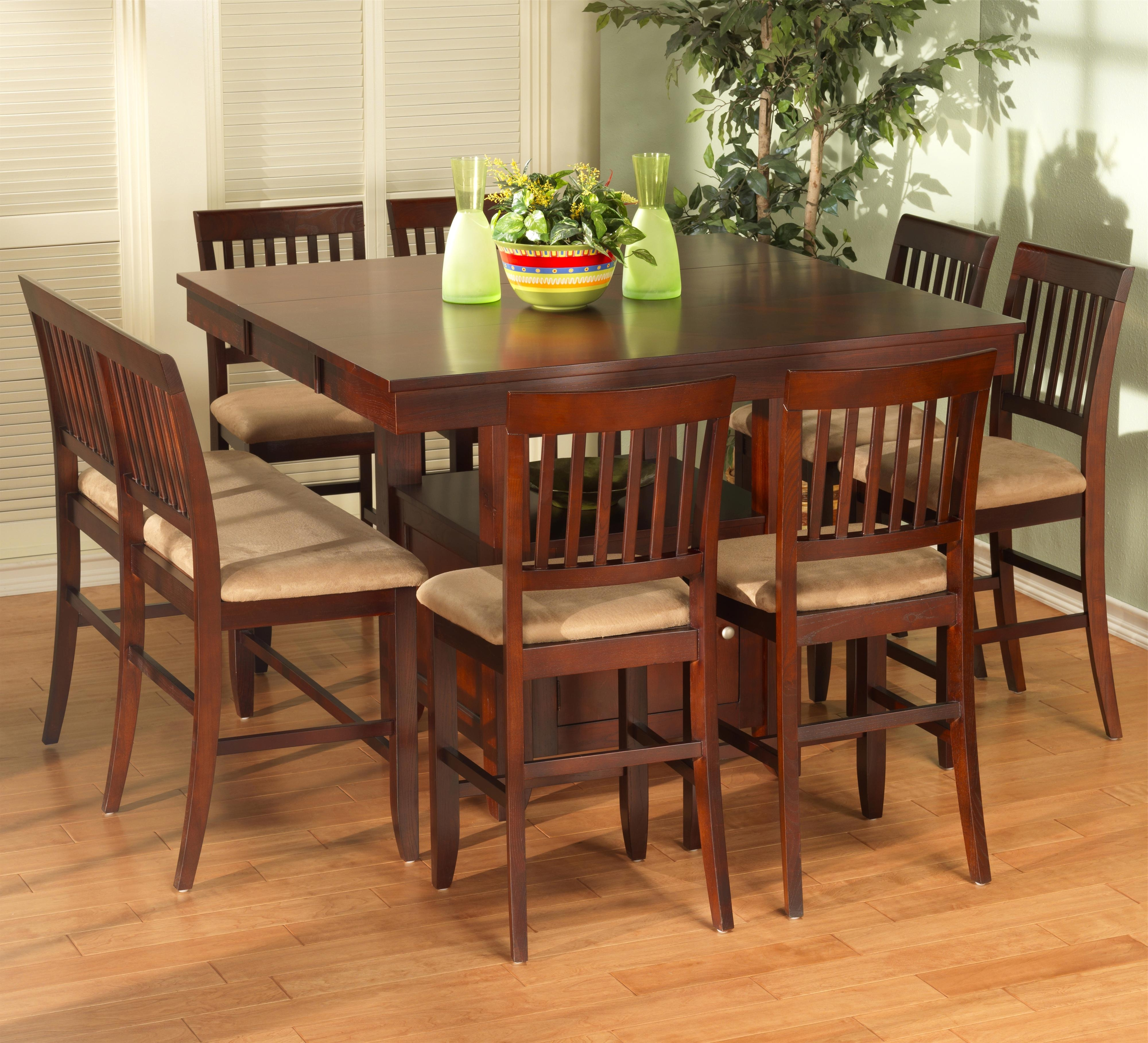 New Classic Brendan 8 Piece Storage Pub Table, Bench, And Counter Pertaining To Most Recently Released Dining Tables And 8 Chairs Sets (View 16 of 25)