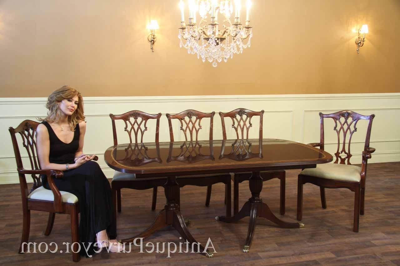 New Formal American Made Double Pedestal Dining Table With Inlay Pertaining To Fashionable Mahogany Dining Table Sets (Gallery 11 of 25)