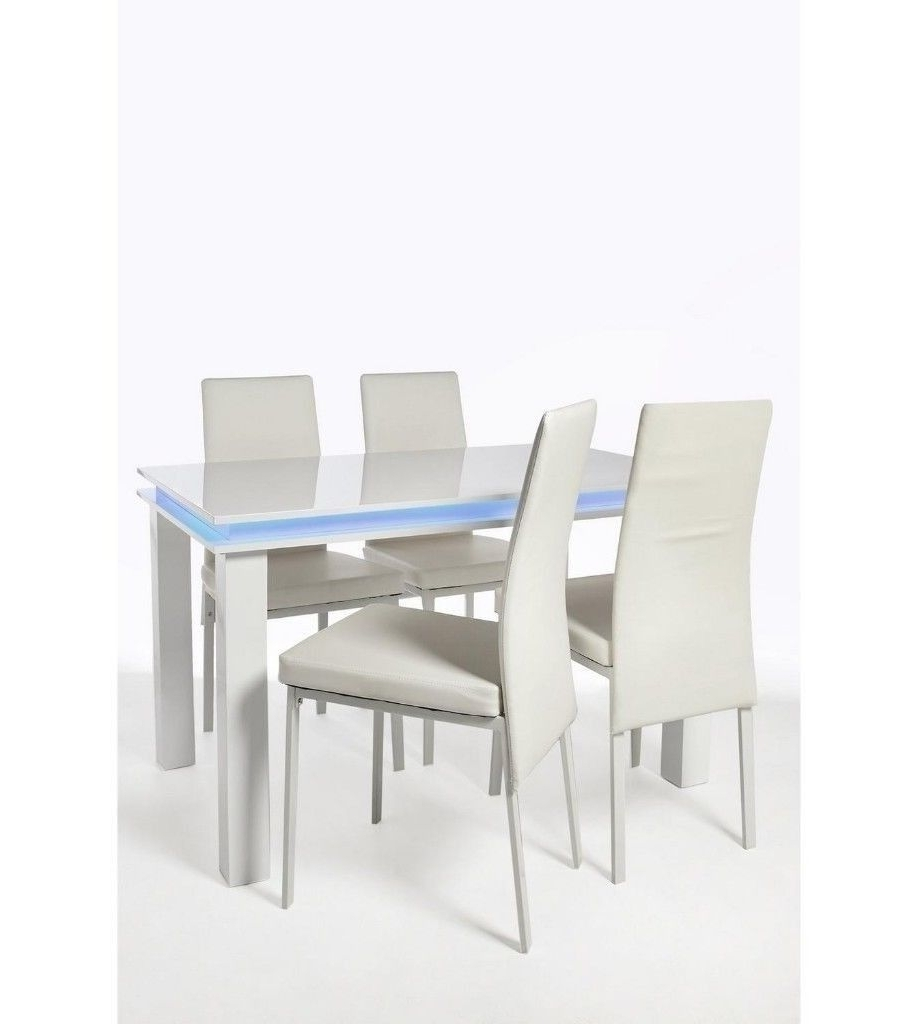 New Other (4 Minor Marks On Top Table) – 5 Pc High Gloss 1 Large Led For Favorite Large White Gloss Dining Tables (Gallery 23 of 25)