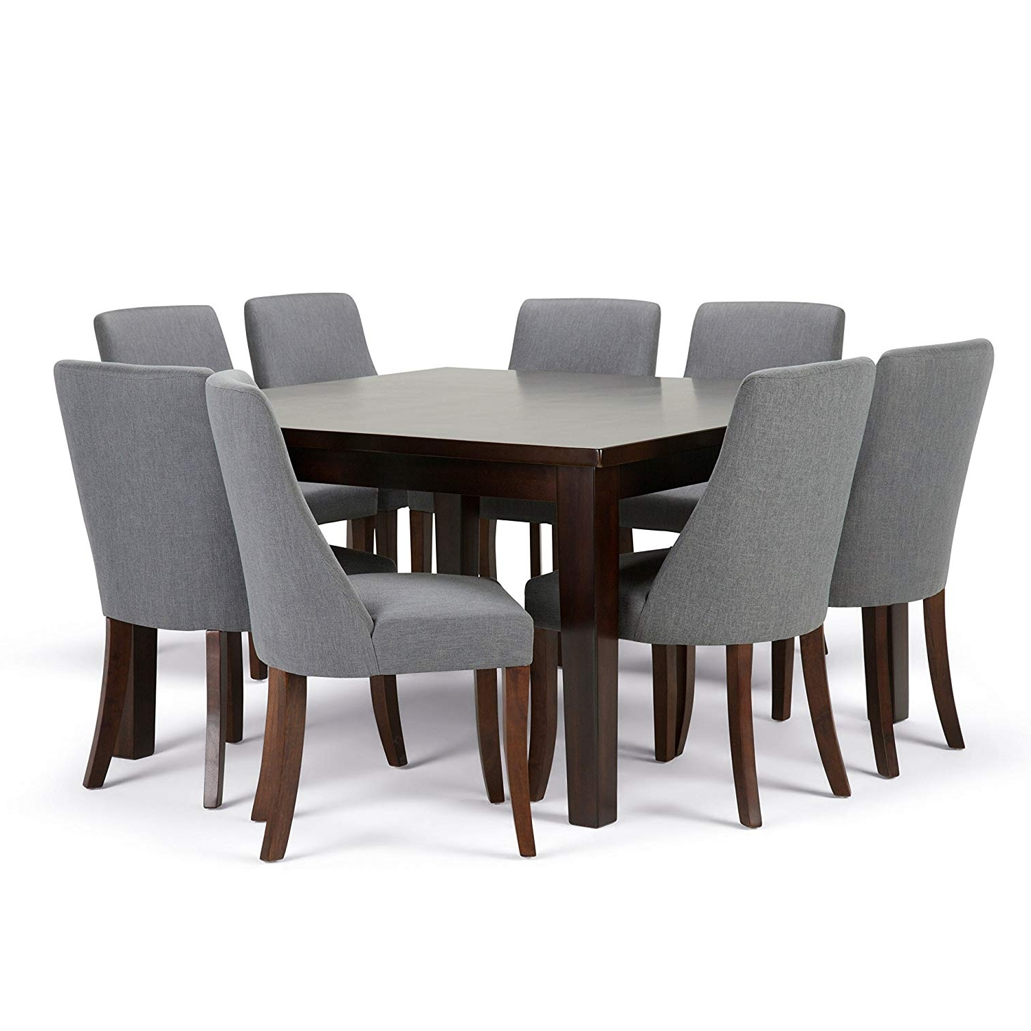 Newest Amazon: Simpli Home Walden 9 Piece Dining Set, Slate Grey Within Walden Extension Dining Tables (View 9 of 25)