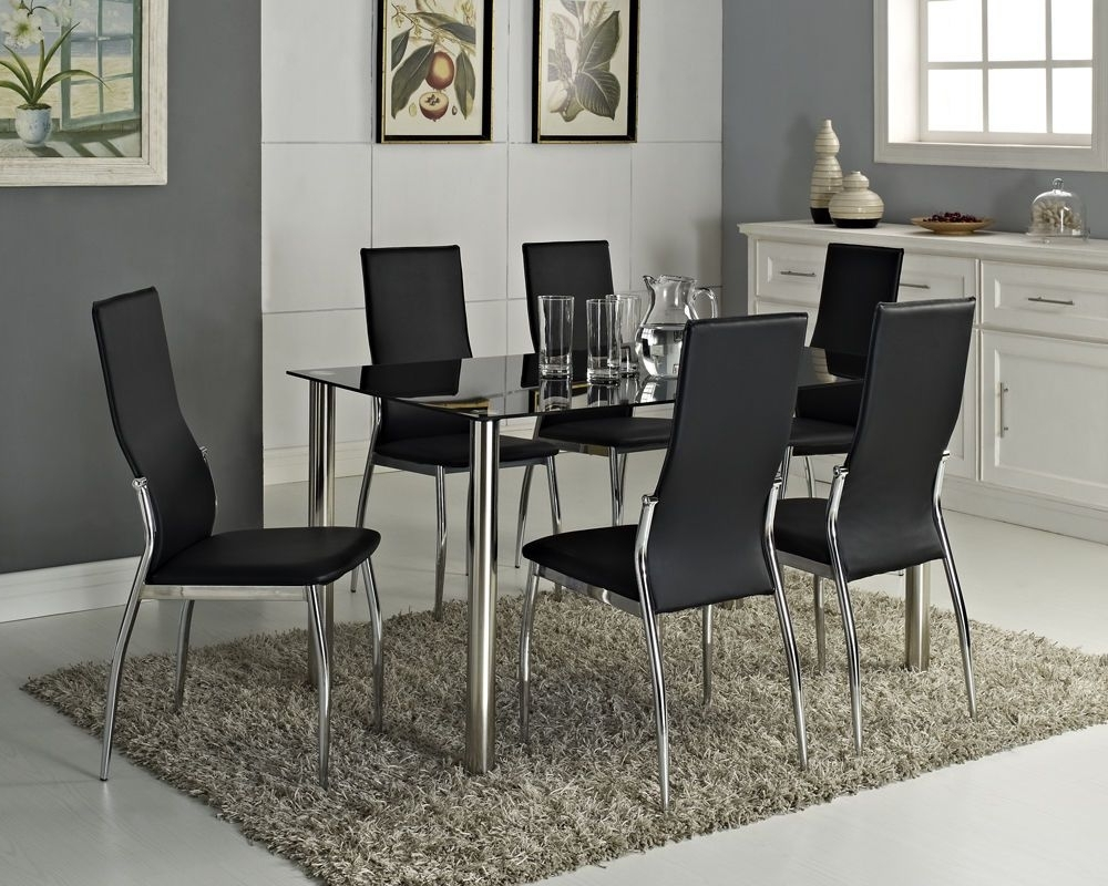 Newest Black Glass Dining Table Set And With 4 Or 6 Faux Leather Chairs With Glass And Chrome Dining Tables And Chairs (View 19 of 25)