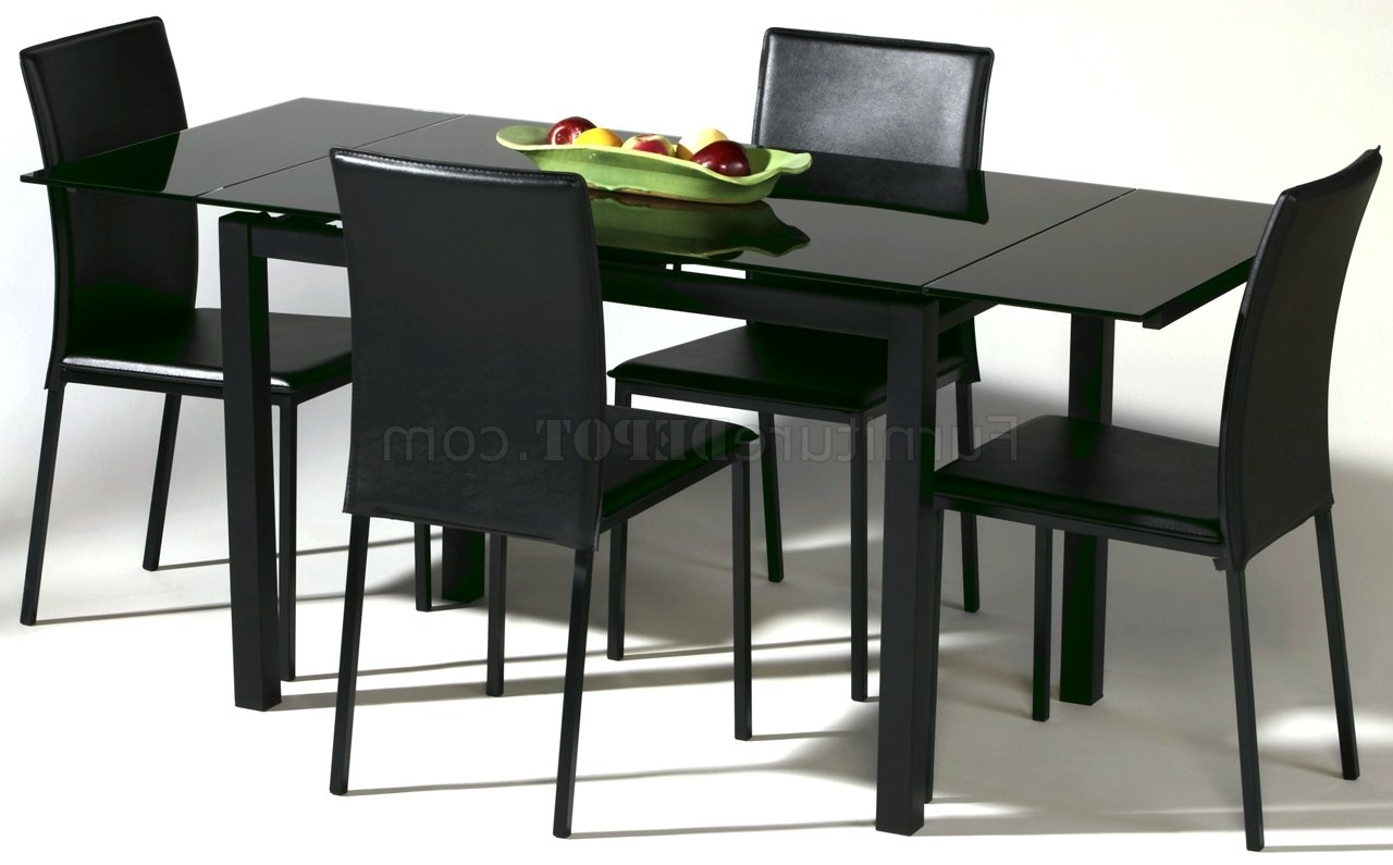 Newest Black Glass Top Modern Dining Table W/optional Chairs Within Black Glass Dining Tables (View 21 of 25)