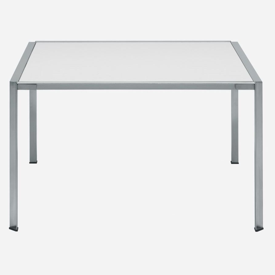 Newest Brushed Metal Dining Tables In Contemporary Dining Table / Tempered Glass / Stainless Steel (View 8 of 25)