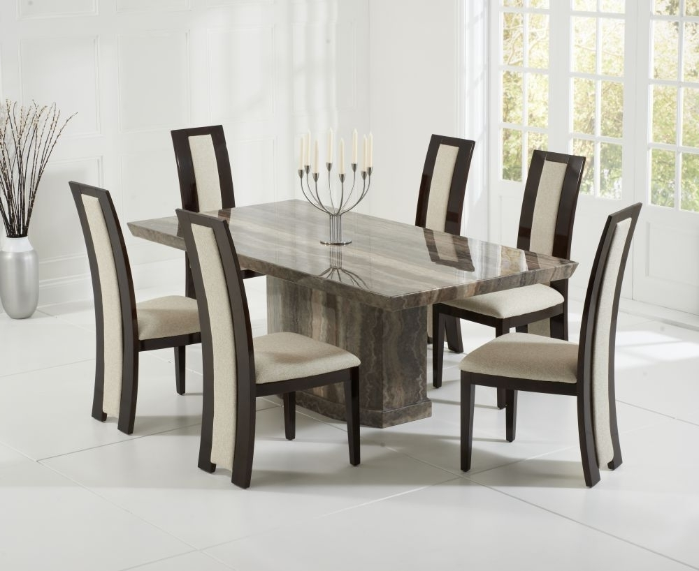 Newest Buy Mark Harris Como Brown Marble Dining Set – 200Cm Rectangular In Como Dining Tables (Gallery 25 of 25)