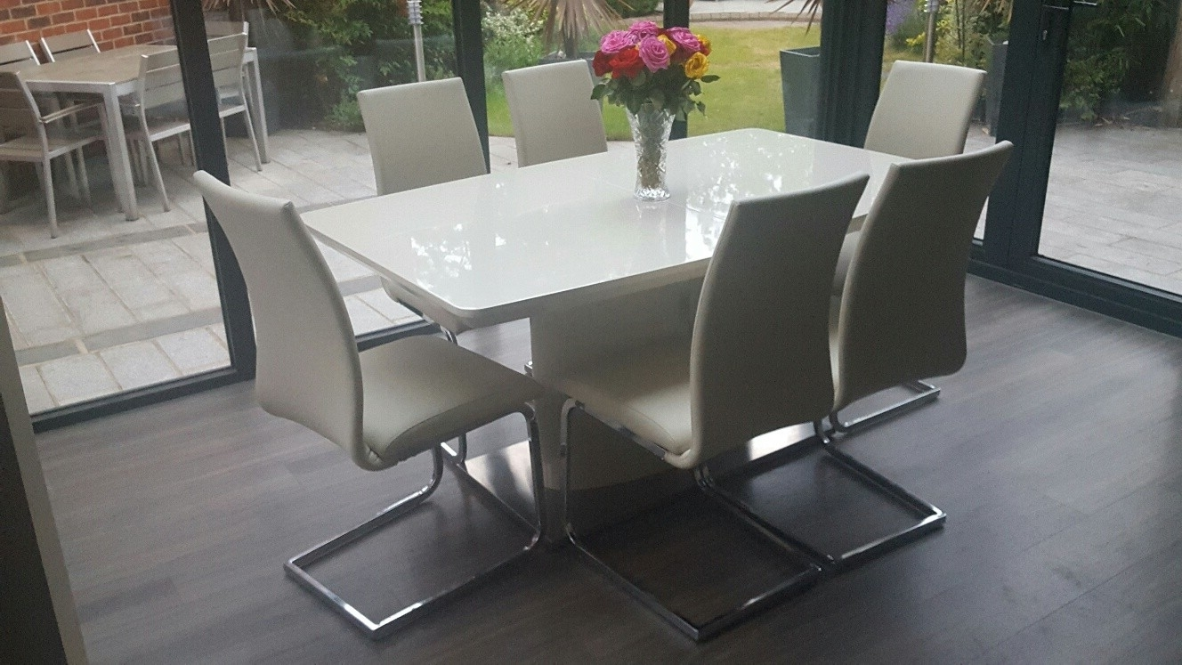 Newest Buy Nora Ivory Cream Gloss Extendable Dining Table 180Cm Throughout Nora Dining Tables (View 15 of 25)