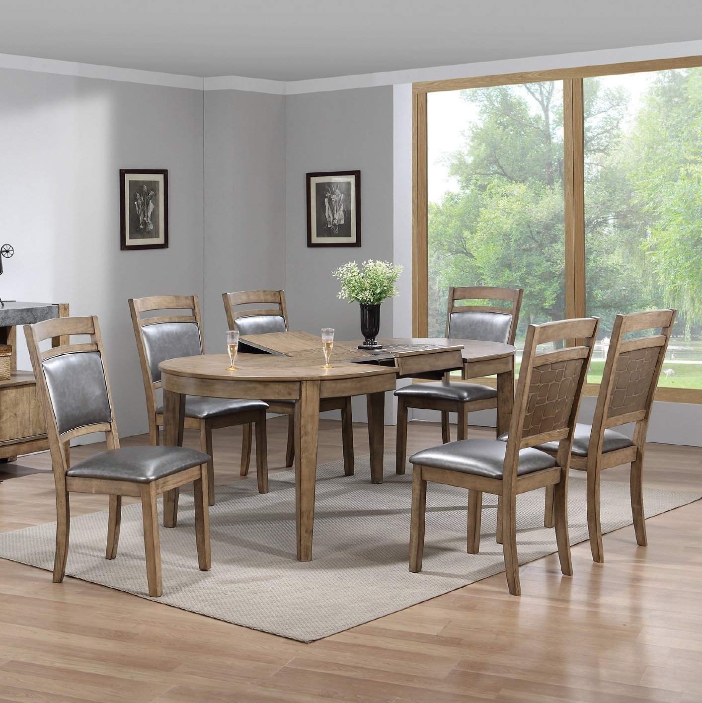 Newest Caira 7 Piece Rectangular Dining Sets With Upholstered Side Chairs regarding Gracie Oaks Warthen 7 Piece Dining Set