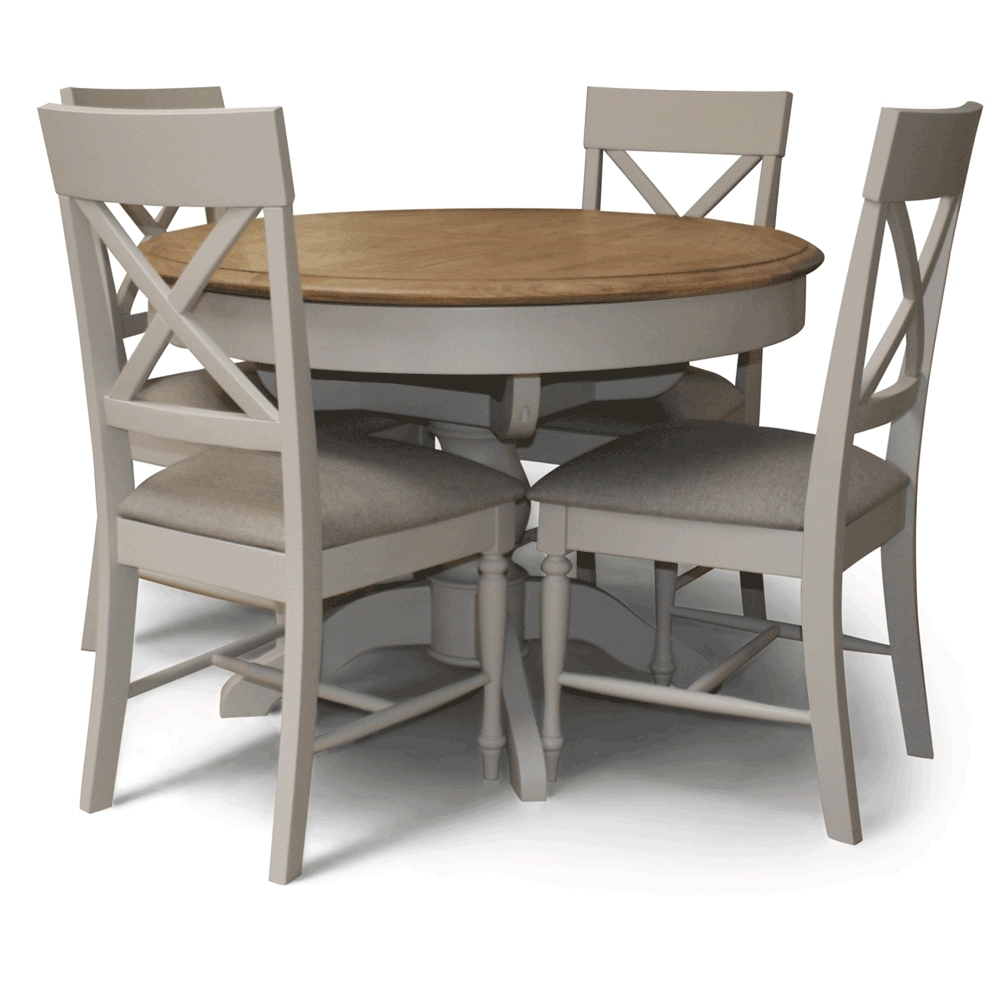 Newest Charlotte Round Dining Table Set With Caira Extension Pedestal Dining Tables (Gallery 22 of 25)