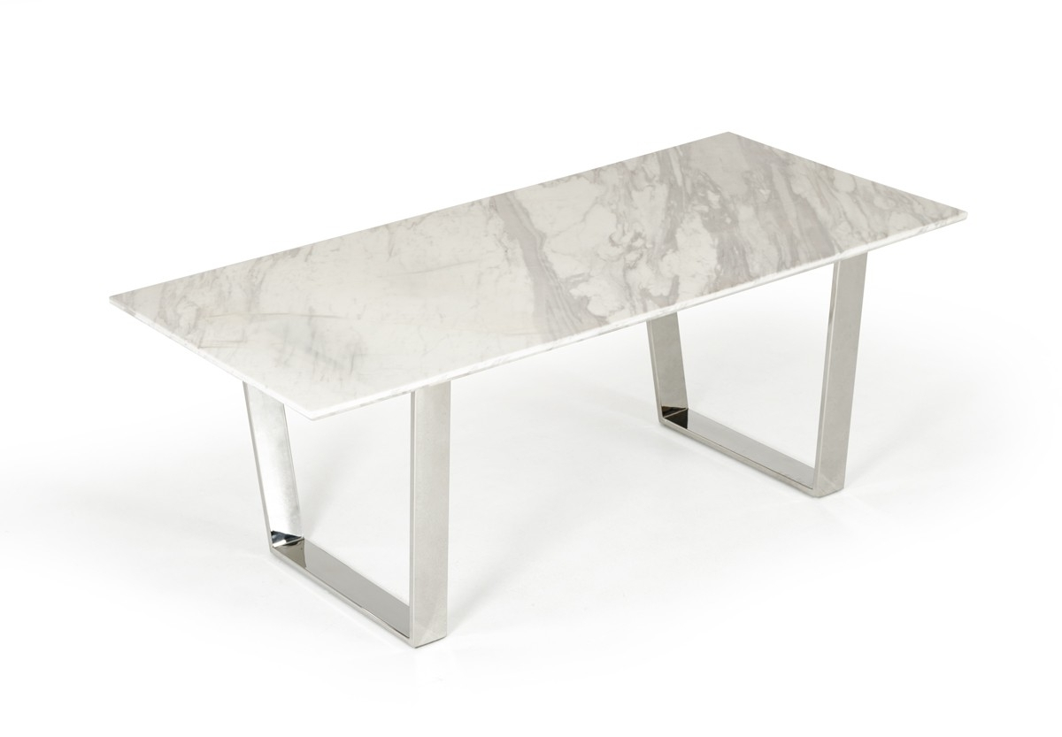 Newest Chrome Dining Tables Within Natural White Marble Top And Chrome Legs Dining Table Detroit (View 15 of 25)