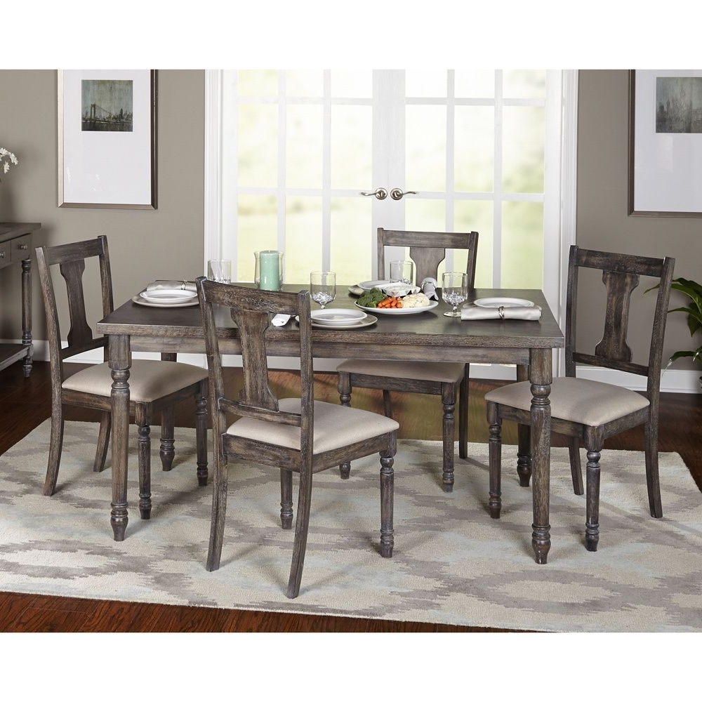 Newest Combs 7 Piece Dining Sets With  Mindy Slipcovered Chairs Throughout Simple Living 5 Piece Burntwood Dining Set (5 Piece Burntwood Dining (View 10 of 25)