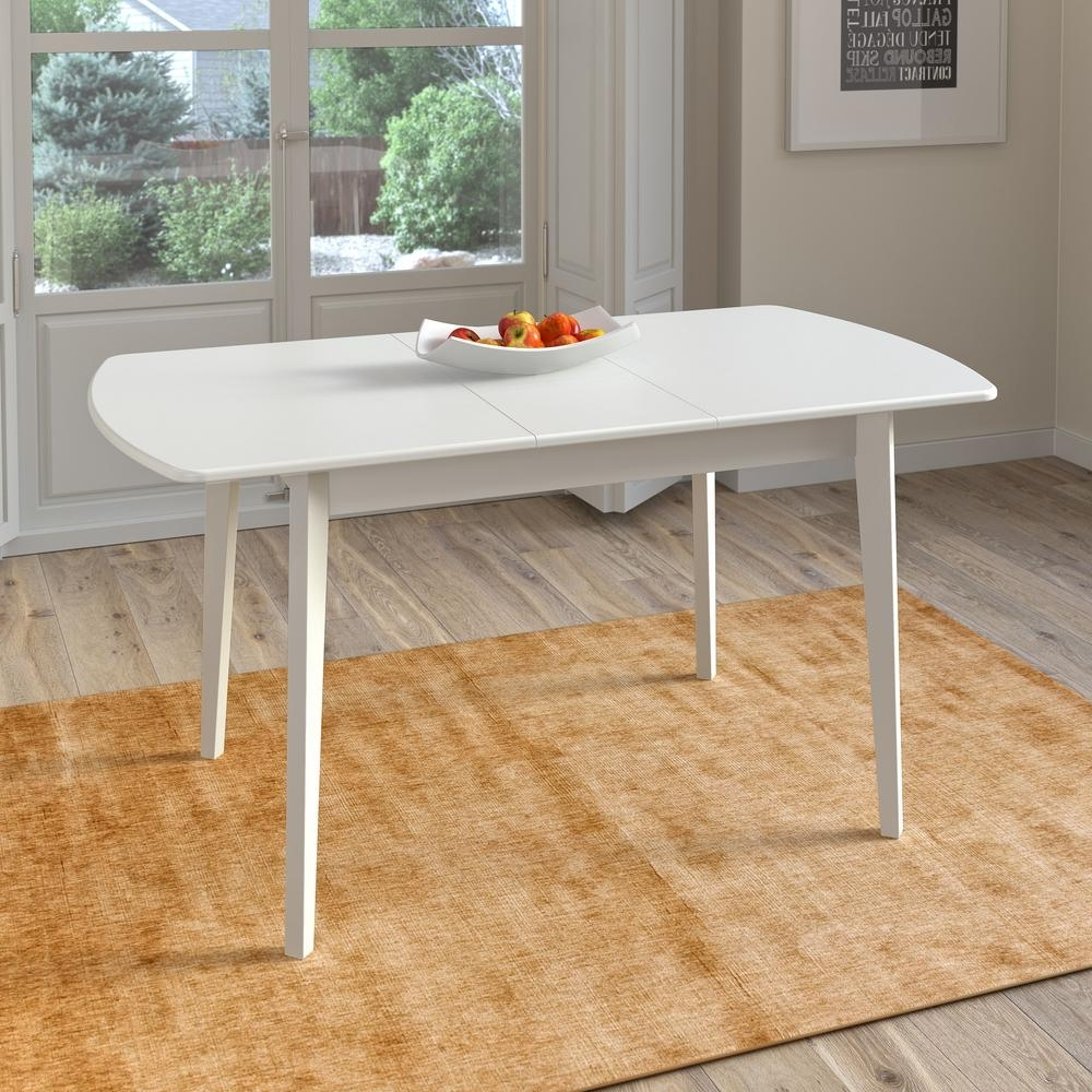 Newest Corliving Dillon White Wood Extendable Oblong Dining Table Dsh 610 T With Craftsman Rectangle Extension Dining Tables (Gallery 21 of 25)