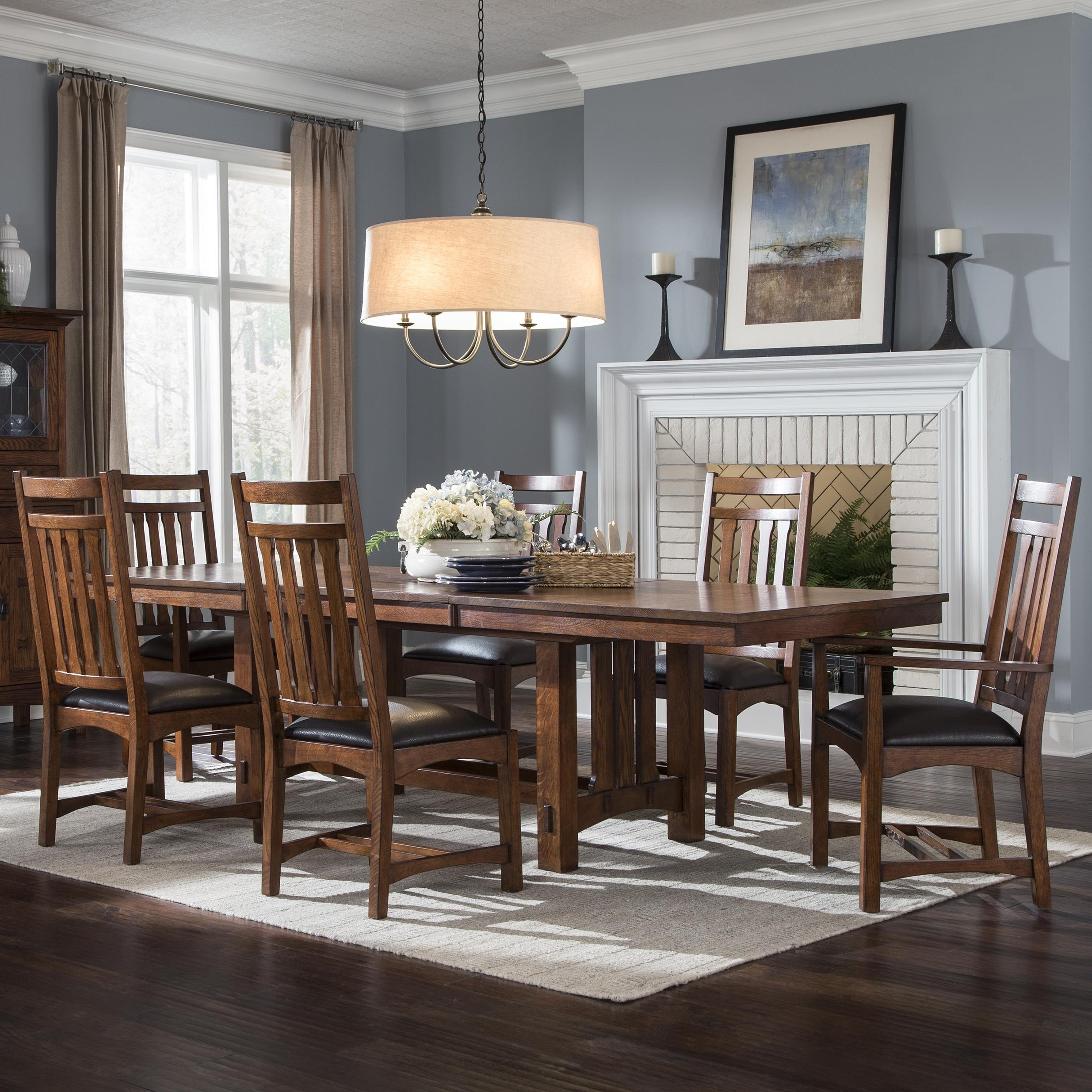 Newest Craftsman 7 Piece Rectangular Extension Dining Sets With Arm & Uph Side Chairs with regard to Vfm Signature Oak Park 7 Piece Dining Set With Slat Back Chairs