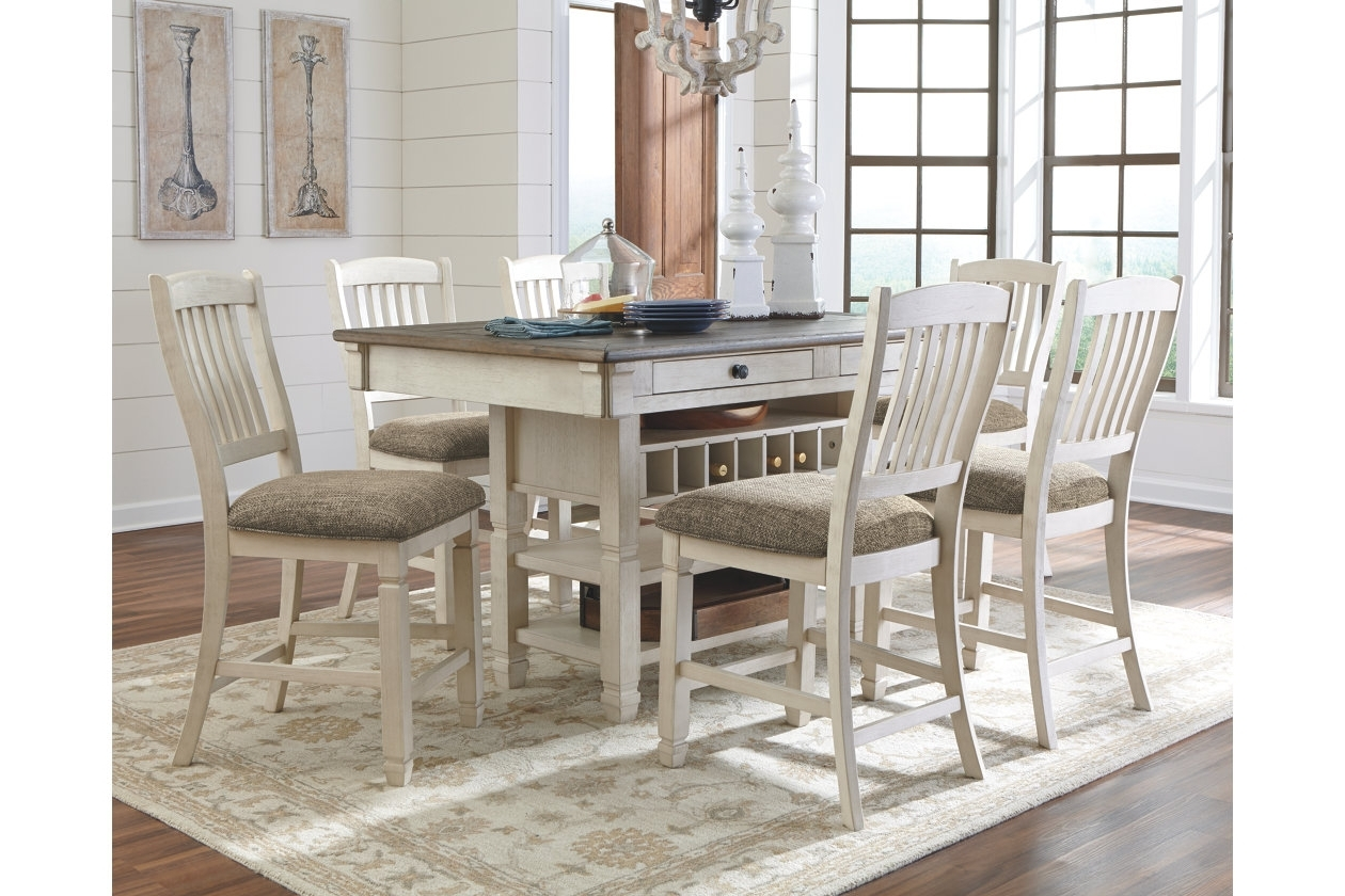 Newest Craftsman 9 Piece Extension Dining Sets With Uph Side Chairs Inside Bolanburg 5 Piece Counter Dining Room (View 20 of 25)