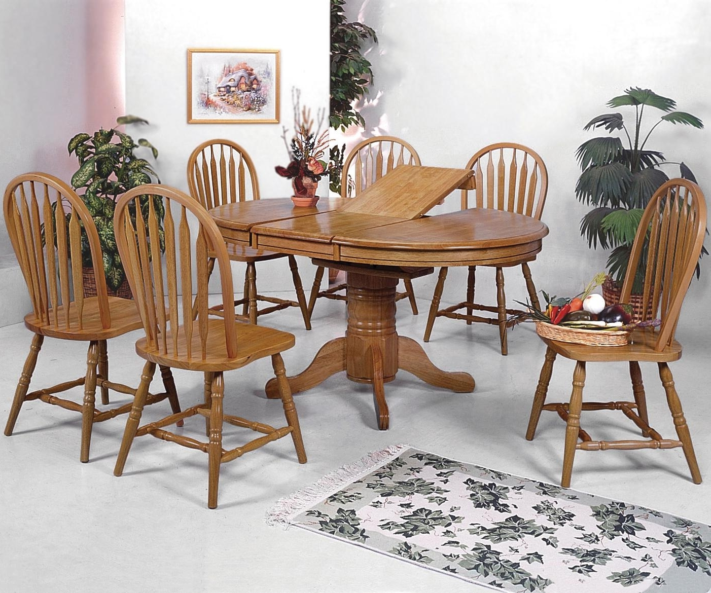 Newest Crown Mark Windsor Solid 7 Piece Oval Dining Table And Side Chairs With Oak Dining Set 6 Chairs (View 15 of 25)