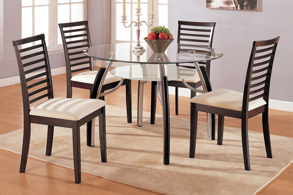 Newest Dining Room Dining Table Glass Top Small Glass Dining Room Table And In Small Round Dining Table With 4 Chairs (View 7 of 25)