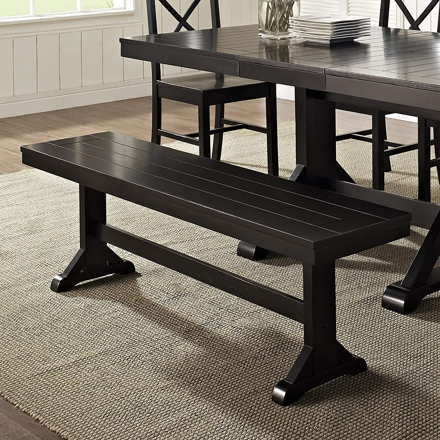 Newest Dining Tables Dark Wood pertaining to We Furniture Solid Wood Black Dining Bench