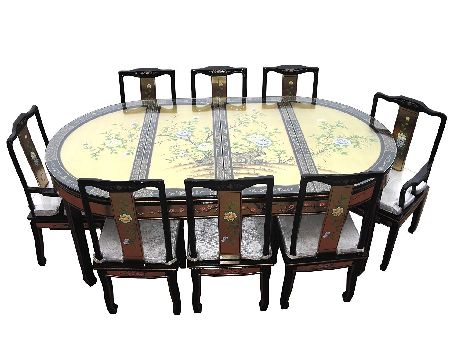 Newest Dining Tables Set For 8 Inside Chinese Oriental Furniture, Genuine Gold Leaf 8 Seater Dining Table (View 19 of 25)