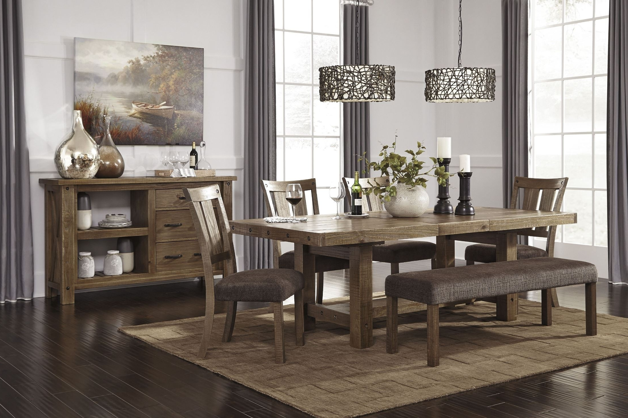 Newest Extendable Dining Tables And Chairs With Regard To Signature Designashley Tamilo Gray/brown Rectangular Extendable (View 20 of 25)