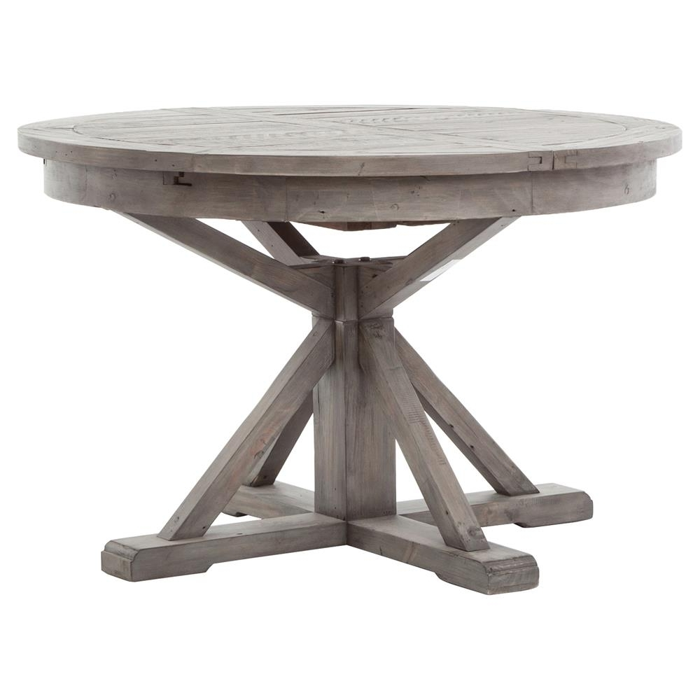 Newest Extendable Round Dining Tables With Chabert French Reclaimed Wood Extendable Round Dining Table – Small (View 7 of 25)