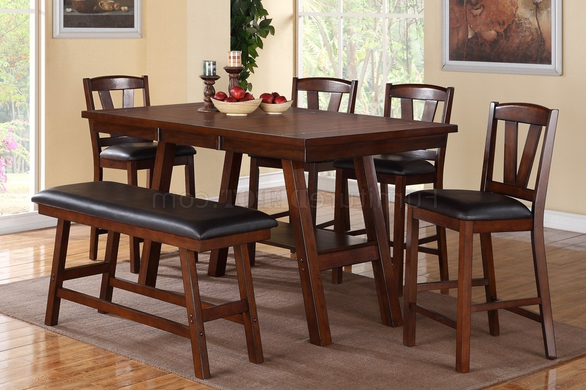 Newest F2273 Dining Set Counter Height 6Pc In Dark Walnutpoundex Within Walnut Dining Table Sets (Gallery 17 of 25)