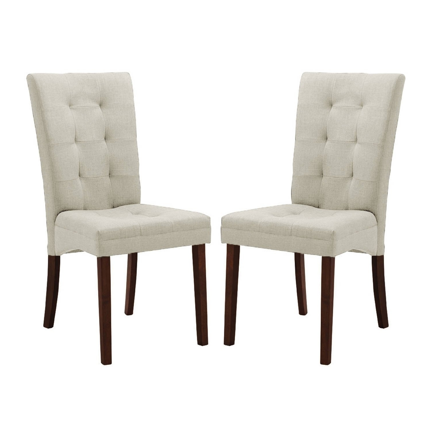 Newest Fabric Covered Dining Chairs In Shop Contemporary Beige Fabric Dining Chair 2 Piece Setbaxton (Gallery 3 of 25)