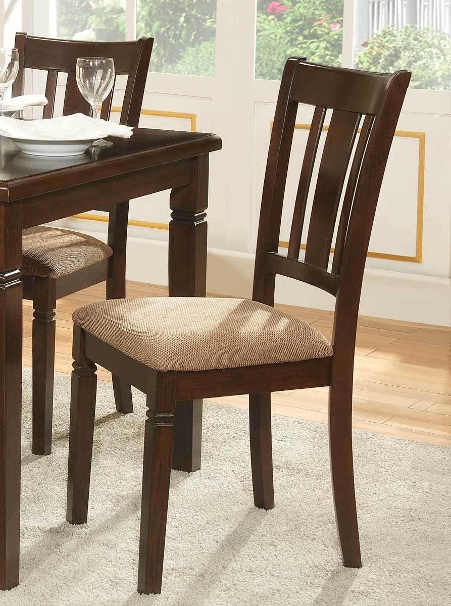 Newest Fabric Upholstered Slated Back Side Chair, Espresso & Light Brown Pertaining To Caira Black 7 Piece Dining Sets With Upholstered Side Chairs (Gallery 18 of 25)