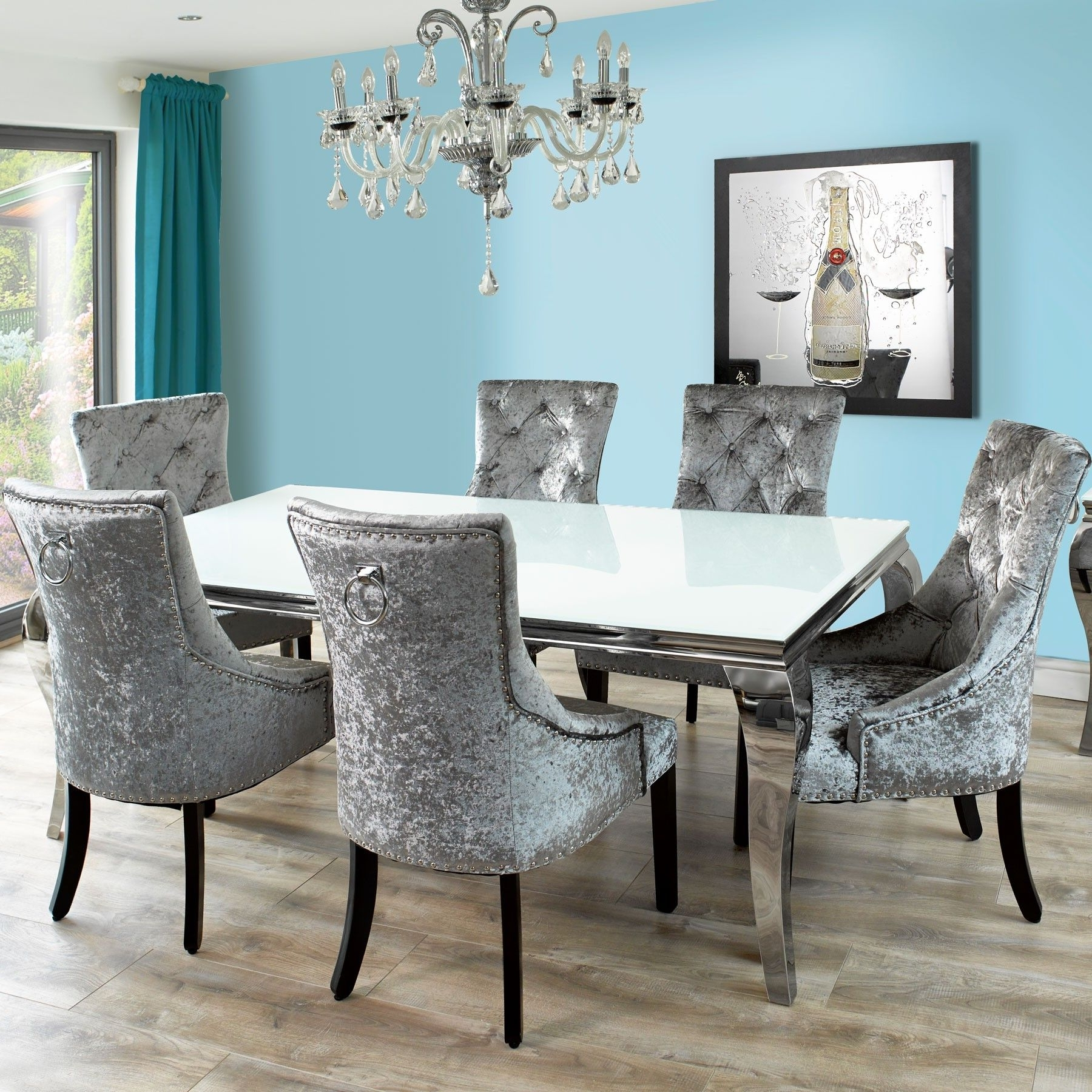 Newest Fadenza White Glass Dining Table And 6 Silver Chairs With Knocker Inside Glass Dining Tables And Chairs (View 18 of 25)
