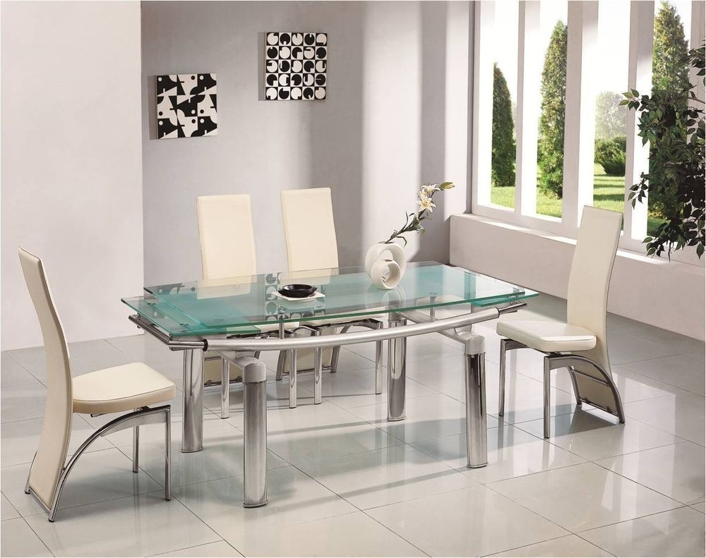 Newest Glass Dining Tables 6 Chairs Regarding Donato Extending Glass Chrome Dining Room Table & 6 Chairs Set (View 16 of 25)