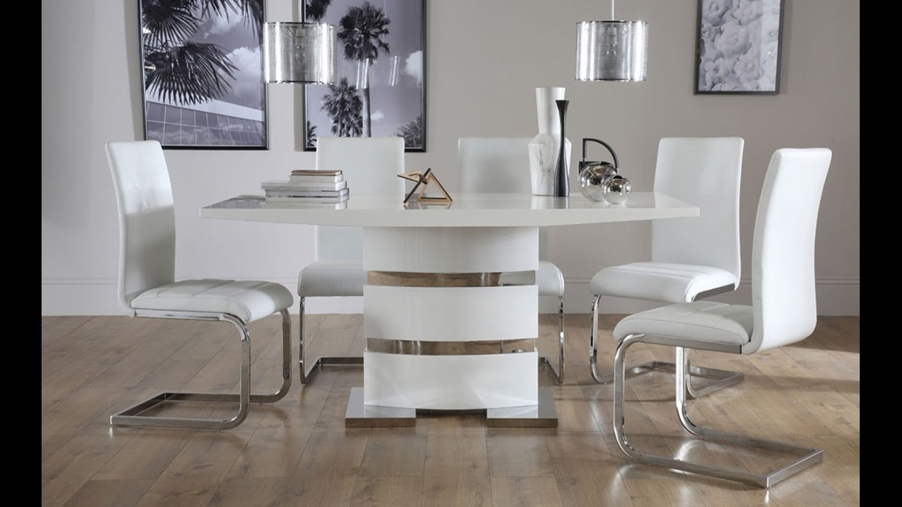 Newest High Gloss Dining Chairs Throughout Komoro White High Gloss Dining Tablefurniture Choice – Youtube (Gallery 16 of 25)