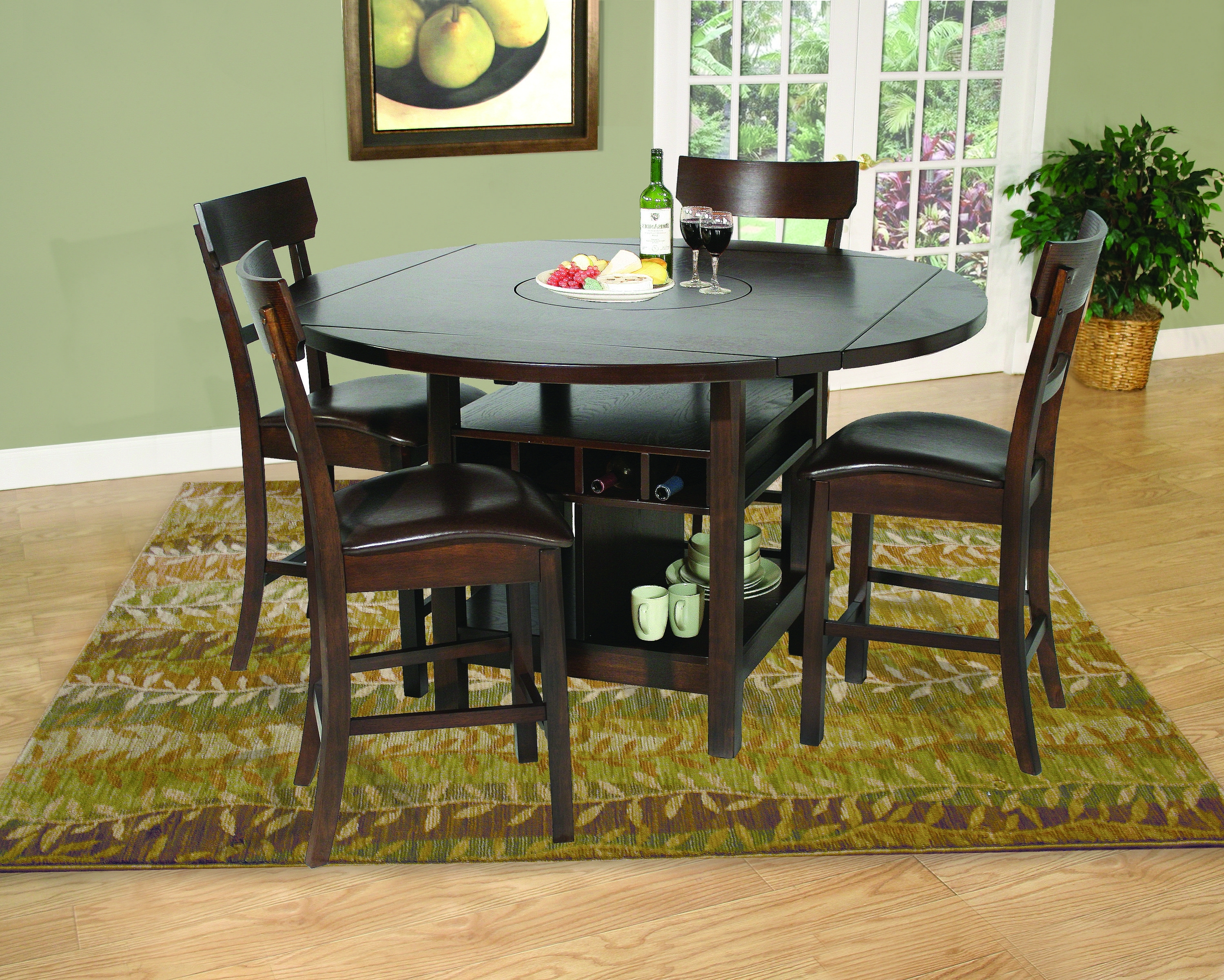 Newest Ina Pewter 60 Inch Counter Tables With Frosted Glass Inside Samantha 5 Piece Pub Set (Gallery 12 of 25)