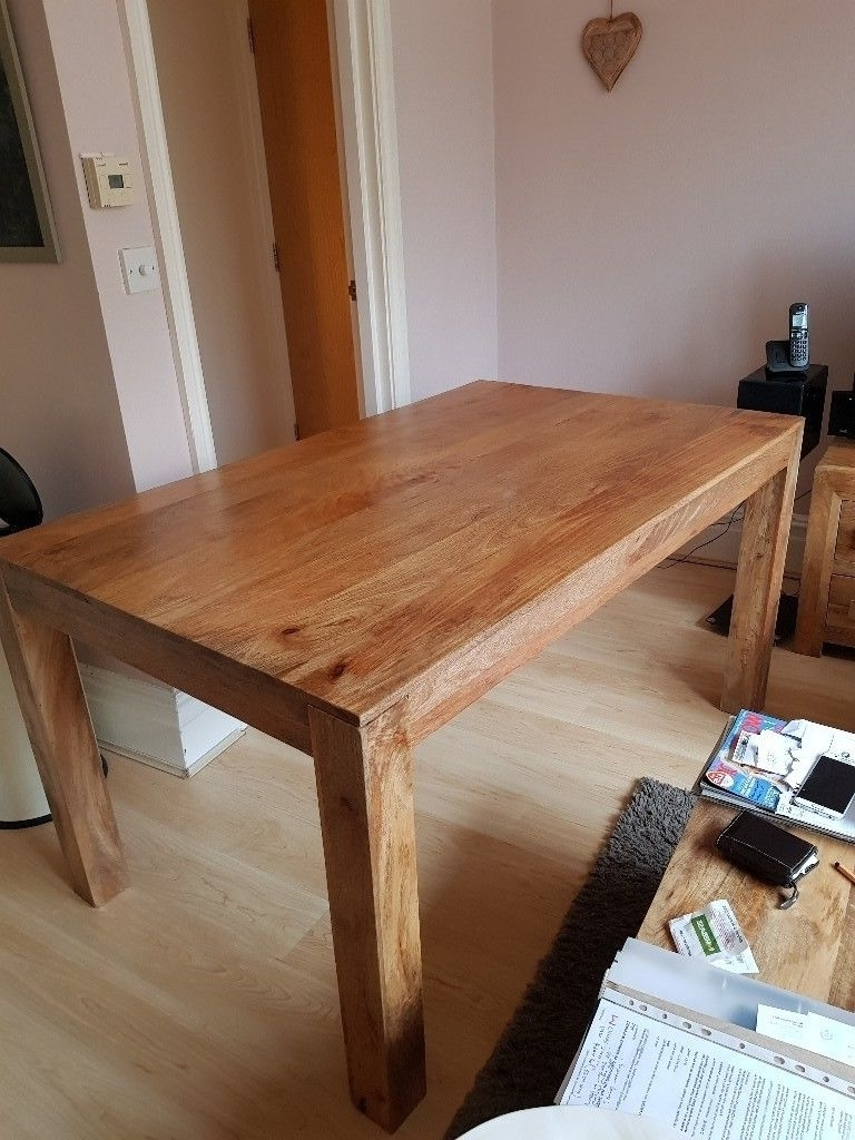 Newest Indian Dining Tables Pertaining To Sturdy Handmade Indian Mango Wood Dining Table And 6 Chairs For Sale (View 18 of 25)