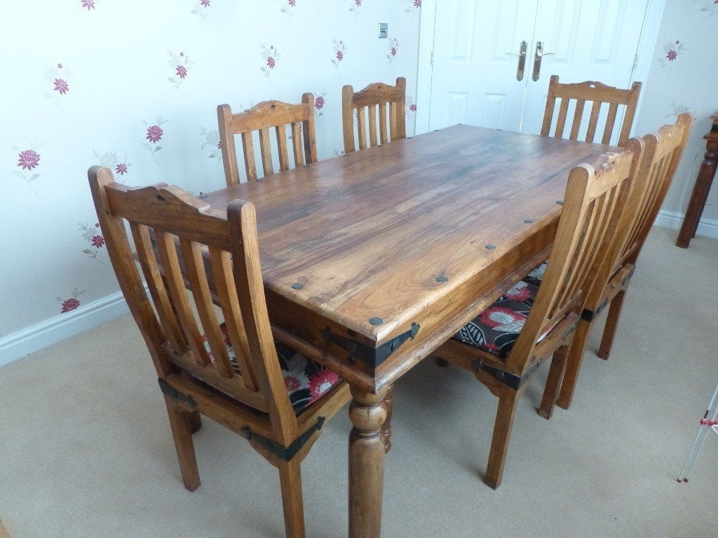 Newest Indian Style Dining Tables With Regard To Solid Wooden Dining Room Table And 6 Chairs, Indian Style, Excellent (Gallery 12 of 25)