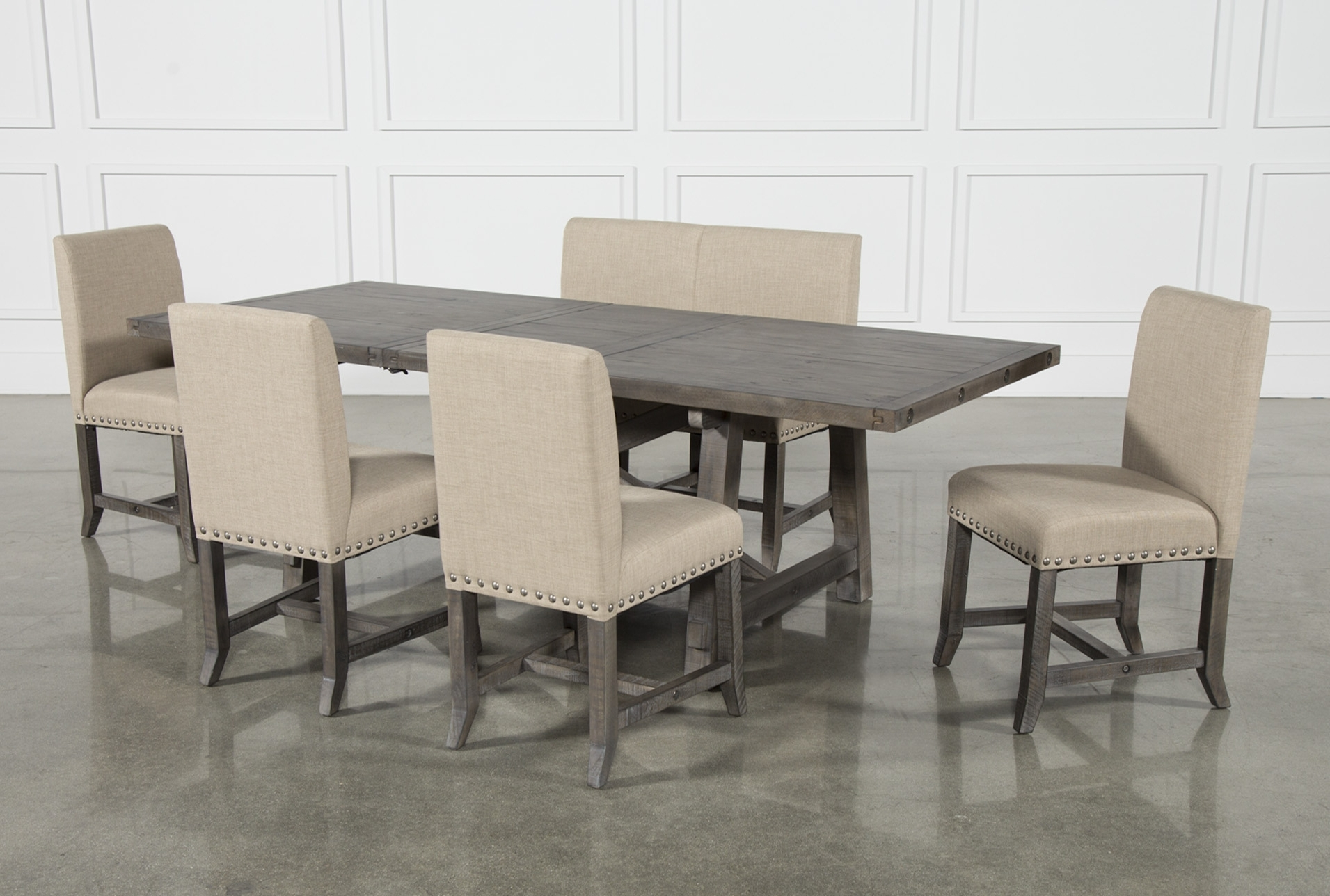 Newest Jaxon Grey 6 Piece Rectangle Extension Dining Set W/bench & Uph inside Jaxon 6 Piece Rectangle Dining Sets With Bench & Uph Chairs