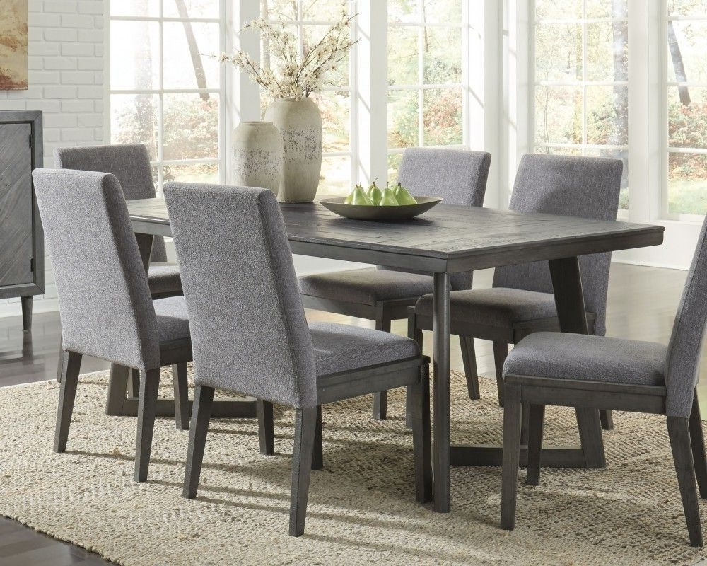 Newest Jaxon Grey 6 Piece Rectangle Extension Dining Sets With Bench & Uph Chairs pertaining to Best Sale Wood Table Set Table Rectangular Design Six Chairs Ing